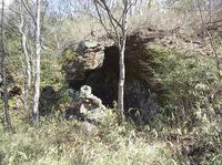 山の斜面にできた風穴